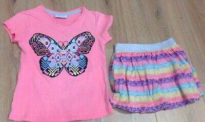 Young Girl's Pink Butterfly T-Shirt & Shorts/Skirt - Got From NZ - Age 6 Years