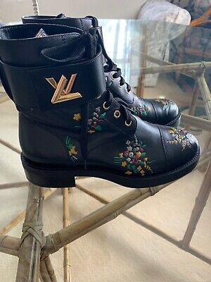 91218c936deb Louis Vuitton LV Wonderland Combat Boots 37.5 7.5 Black Floral Flower  Booties