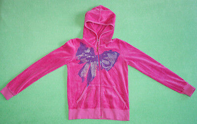 Juicy Couture pink velour hoodie with purple bow for girl size 10