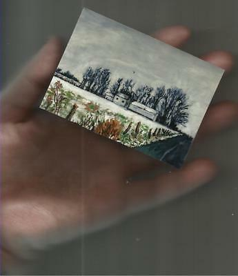ACEO Winter Landscape Acrylic Painting PRINT,signed miniature art,ATC,rural,snow