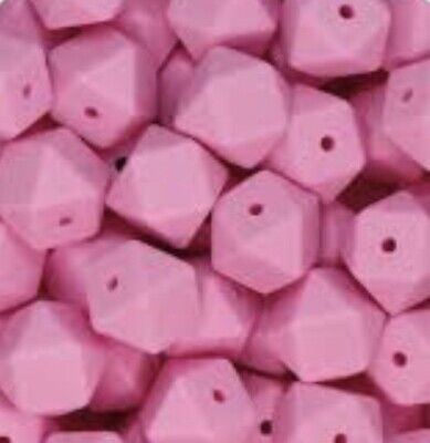 10 PCs Hexagon 17mm Beads BPA-Free Silicone DIY Necklace , Dummy Clip Candy Pink