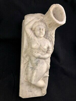 Antique 19thc Reclining Sumptuous Nude Woman Folk Art Carved Marble Tree PA / OH