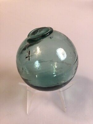 VINTAGE light Aqua green GLASS  3 1/2 inch ROUND FISHING FLOAT with  X markings