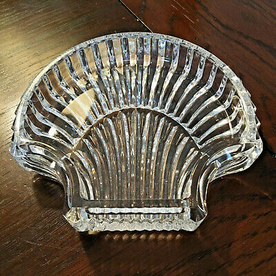 Waterford Crystal Clam Shell Trinket Dish or Tidbit Tray - Signed Seahorse Mark