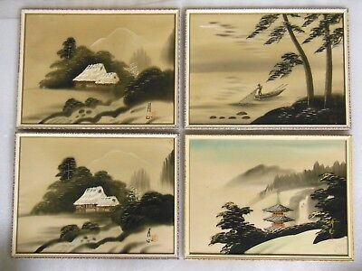 """Lot of 4 - vintage Pieces of Asian Art on Silk - all 17"""" x 13"""""""