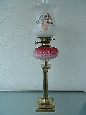A Beautiful Cranberry/pink Victorian Twin Duplex Table Oil Lamp.