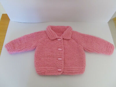 Hand Knitted Baby Jacket with Collar Pink 0-3 Months Soft