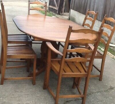 Ercol Golden Dawn Penn Dining Suite Table And Six Chairs