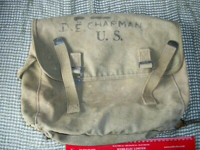 WW2 US ARMY Musette Bag Dated 1943 - Original Owner Marked on Front Flap