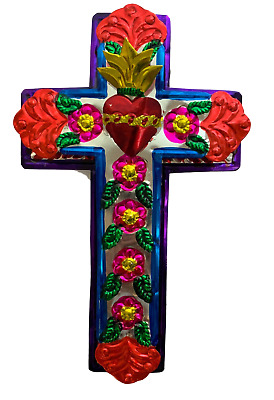 Embossed Tin Cross - Mexican Folk Art Wall Decor - Sacred Heart Ornament Cross