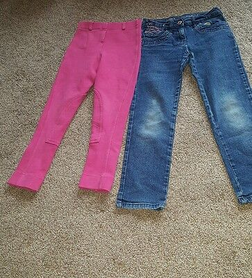 Girls Trousers Jeans X 2 Pairs Pink And Blue 8 Years