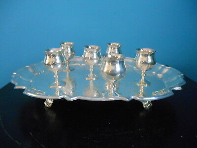 6 Sheridan Silverplate Cordials & Leonard Silverplate Footed Tray