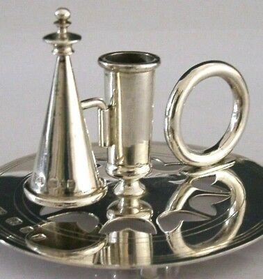 Solid Silver Contemporary Chamber Stick Candlestick 1983 English