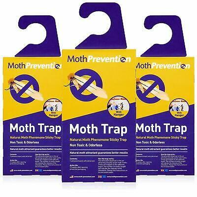POWERFUL MOTH TRAPS FOR CLOTHES MOTHS | 3-Pack | Refillable