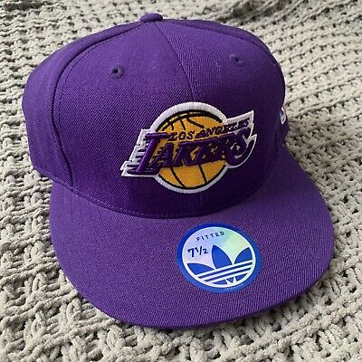 7b852a2957b LOS ANGELES LAKERS NBA Basketball Fitted WOOL Hat NWT Size 7 1 2 Adidas MSRP