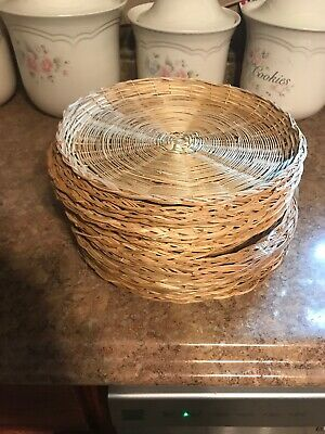 Wicker Rattan Paper Plate Holders Lot of 16 Picnic Camping Parties BBQ
