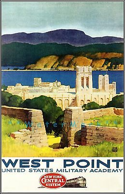24x36 1920s West Point Military Academy Hudson Highlands Vintage Travel Poster