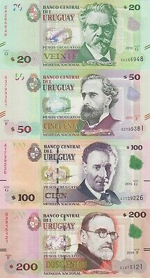 Uruguay 4 Note Set: 20 to 200 Pesos (2015) - 93, p94, p95, p96 UNC