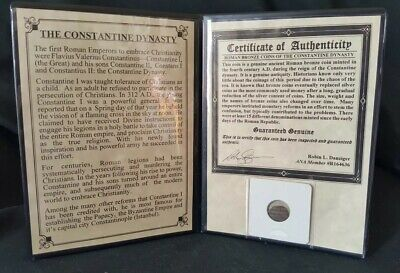 CONSTANTINE THE GREAT Ancient Roman Bronze Coin in Folder with Certificate of Authenticity Constantine I 272-337 AD