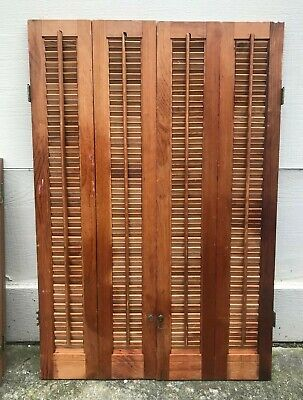 "36"" Tall X 24.25"" W VTG Colonial Wood Interior Louver Plantation Window Shutters"
