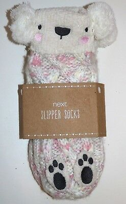 Next White Pink Teddy Bear Soft Thick Knitted Slipper Socks Kids Girls 9-12 -New