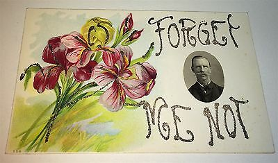 Rare Antique Floral Lithograph Forget Me Not! Western Man Real Photo! Postcard!