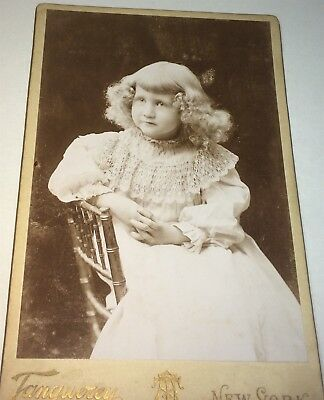 Antique Victorian American Fashion Adorable Little Girl! New York Cabinet Photo!