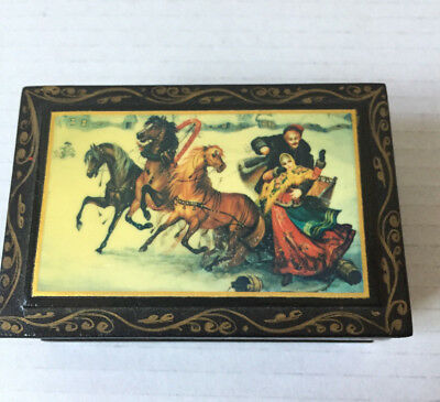 Vintage Hand Painted Russia Trinket Box Black Lacquer Russian Horses Lovers Snow