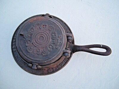 Antique Cast Iron Waffle Iron ~ Springville PA 1867 Chester County ~ Spring City