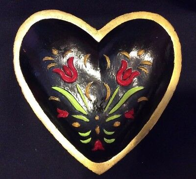 Vintage carved Wood Bowl Dish Hand Painted Flowers HEART Shape Folk Art