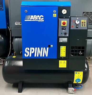 ABAC Spinn.E 410 200 Receiver Mounted Rotary Screw Compressor, With Dryer!