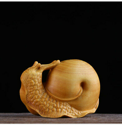 Chinese Boxwood Wood Hand-Carving snail Statue