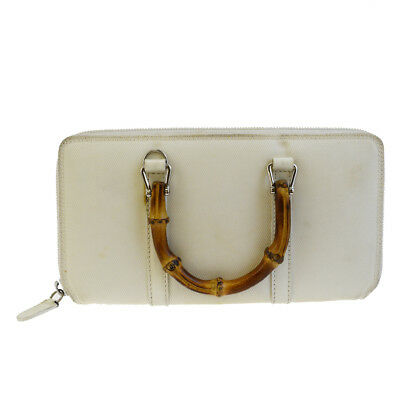 2aa5b940785 Authentic GUCCI Bamboo Long Bifold Wallet Hand Bag Nylon Leather white  03BD362