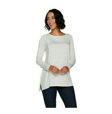 Lisa Rinna Collection Long Slv Striped Knit Top Ivory XS NEW A294169