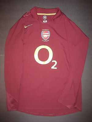 c766361ad 2005-2006 Nike Arsenal FC Highbury Long Sleeve Jersey Shirt Burgundy  Invincibles