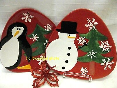 222 FIFTH CHRISTMAS SNOWMAN PENGUIN RED SALAD CAKE PLATES Arctic Holiday 2PC NEW