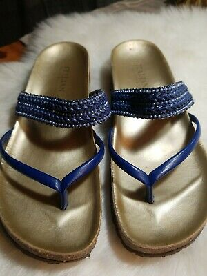 4c7863a7073 Italian Shoemakers Made in Italy Women s Blue beaded Wedge Sandals Size 6.5