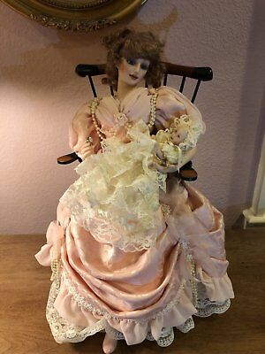 Franklin Heirloom Doll - Mother & Child + CHAIR!!!  Orig $395 (w/o chair) baby