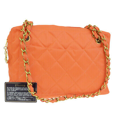 0e073f61878e32 Authentic CHANEL CC Logos Quilted Chain Shoulder Bag Nylon Orange France  77EP691