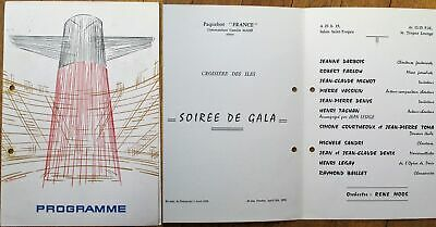 French Line 'Paquebot France' 1970 Party/Gala Program w/Artist-Signed Cover