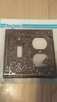 Vintage Looking Antique Brass Single Light Switch Plate Outlet Cover Combo