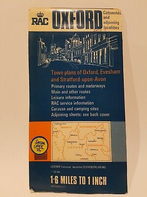 Vintage RAC Map of Oxford Cotswolds and Adjoining Locations Scale 1: 100,000
