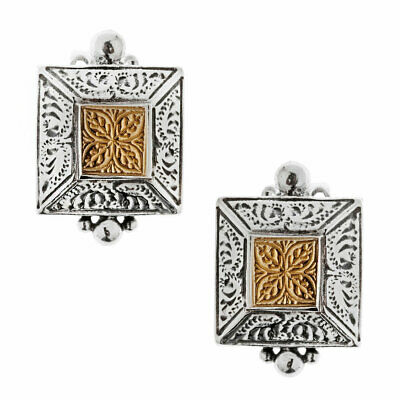 Savati ~ Solid Gold & Sterling Silver Byzantine Stud Earrings with Clips