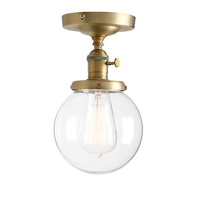 "Permo Vintage Industrial Mini 5.9"" Round Clear Glass Globe Semi Flush Mount Ceil"