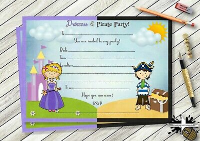 10 Personalised Princess and Pirate Birthday Party Thank you Cards N172