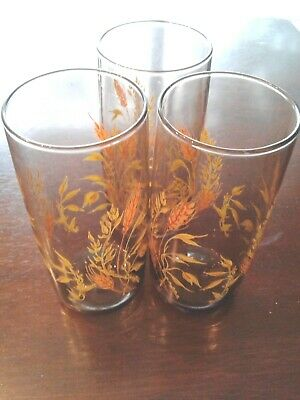 Anchor Hocking Tumblers BEVERAGE Golden Wheat Set of 3 VINTAGE GLASSES CUPS