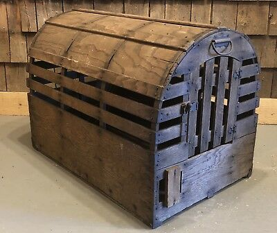 Antique Late 1800's Large Wood Cast Iron Animal Cage Carrier Amazing Decor