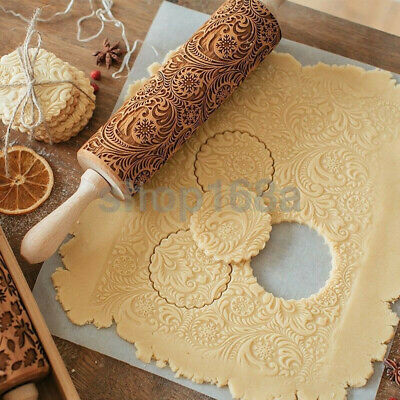 Holiday Rolling Pin Wooden Engraved Embossed Cookies Baking Fondant Decor Cook