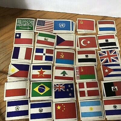 Large Lot of Vintage 1980s UN Flags Stickers (30+ Sets!) Sunbeam Bread 86-100