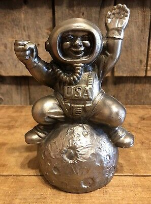 Vintage Metal Androscoggin Bank Maine Space Astronaut Piggy Bank Moon Landing